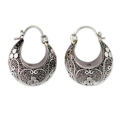 Indonesian Sterling Silver Hoop Earrings