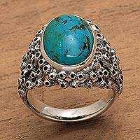 Men's turquoise ring, 'Living Coral' (Indonesia)