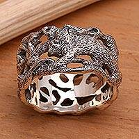 Men's sterling silver band ring, 'Monkey Business' - Men's Hand Crafted Sterling Silver Band Ring