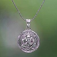 Sterling silver pendant necklace, 'Gracious Ganesha'