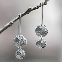 Sterling silver dangle earrings, 'Magical Shields'