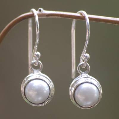 Cultured pearl dangle earrings, 'Full Moon' - Sterling Silver and Pearl Dangle Earrings