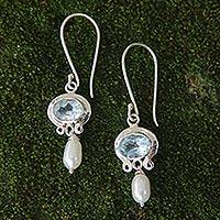 Cultured pearl and blue topaz dangle earrings, 'Sky Fantasy' - Blue Topaz and Pearl Silver Dangle Earrings
