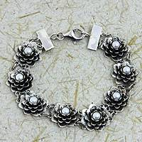 Pearl flower bracelet, 'Sacred Lotus' - Silver and Pearl Lotus Bracelet Artisan Crafted Jewelry