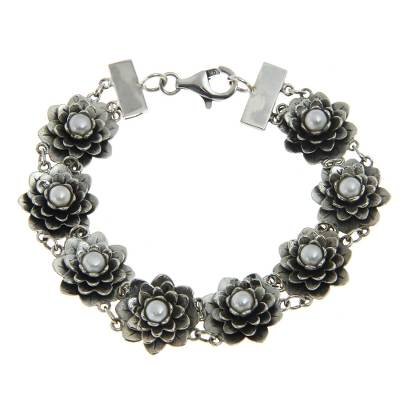 Silver and Pearl Lotus Bracelet Artisan Crafted Jewelry