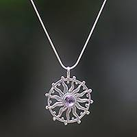 Amethyst pendant necklace, 'Sun Spirit' - Unique Silver and Amethyst Necklace