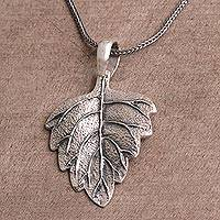 Sterling silver pendant necklace, 'Glistening Leaf' - Handmade Sterling Silver Pendant Necklace
