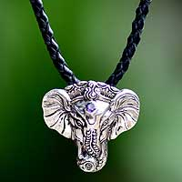 Men's silver and leather necklace, 'Wise Ganesha' - Men's Handmade Sterling Silver and Amethyst Necklace