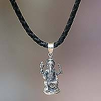 Mens sterling silver and leather necklace Ganesha (Indonesia)