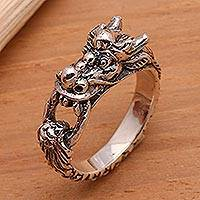 Men's sterling silver ring, 'Flying Dragon'
