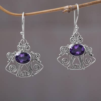 Amethyst dangle earrings, Balinese Bell