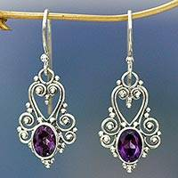 Amethyst dangle earrings, 'Queen of Hearts' - Sterling Silver and Amethyst Dangle Earrings
