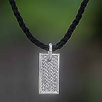 Men's leather pendant necklace, 'Patience' - Men's Sterling Silver Pendant Necklace