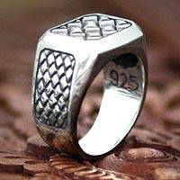 Mens sterling silver ring, Dragon Spirit