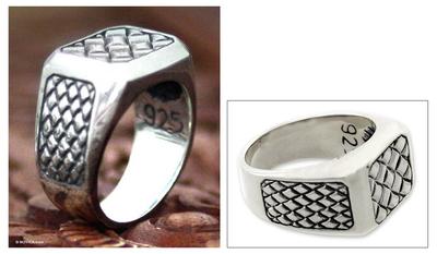 Men's sterling silver ring, 'Dragon Spirit' - Men's sterling silver ring