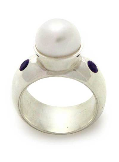 Pearl and amethyst cocktail ring