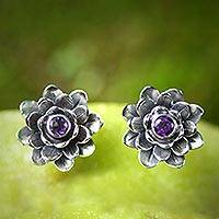 Amethyst flower earrings, 'Lilac-Eyed Lotus' - Artisan Crafted Floral Amethyst Button Earrings