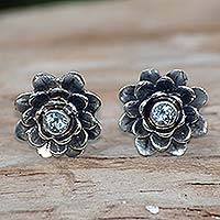 Blue topaz flower earrings, 'Blue-Eyed Lotus' - Sterling Silver and Blue Topaz Button Earrings