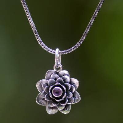 Amethyst flower necklace, 'Sacred Lilac Lotus' - Hand Crafted Floral Amethyst and Sterling Silver Necklace