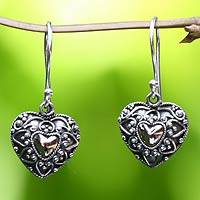 Sterling silver heart earrings, 'Sweetheart' - Gold Accent Heart Shaped Dangle Earrings