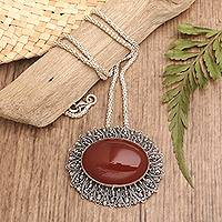 Carnelian brooch pin-pendant floral necklace,