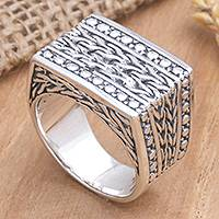 Men's sterling silver signet ring, 'Regal' - Hand Crafted Men's Sterling Silver Ring
