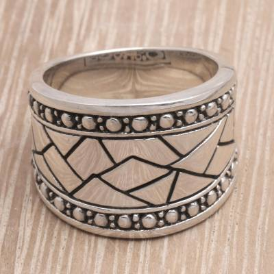 Men's sterling silver ring, 'Emperor' - Men's Handcrafted Sterling Silver Band Ring