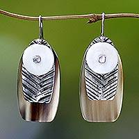 Sterling silver and cow horn dangle earrings, 'Seagull' - Sterling silver and cow horn dangle earrings