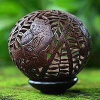 Coconut shell sculpture, 'Bamboo Panda' - Coconut Shell Sculpture with Stand
