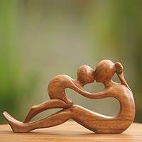 Wood sculpture, 'Endless Love' - Mother and Child Wood Sculpture