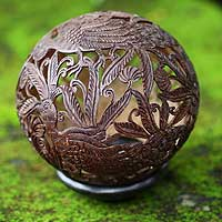 Coconut shell sculpture, 'Elegant Peacock' - Handcrafted Coconut Shell Sculpture