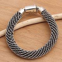 Sterling silver braided bracelet,