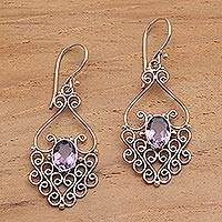 Amethyst filigree earrings, 'Bali Dynasty' - Hand Crafted Sterling Silver and Amethyst Earrings