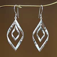 Sterling silver dangle earrings, 'Infinite Dance' - Modern Sterling Silver Dangle Earrings