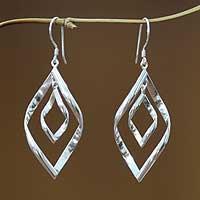 Sterling silver dangle earrings, 'Infinite Dance'