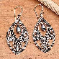 Pearl filigree earrings, 'Black Dogwood' - Sterling Silver and Pearl Dangle Earrings