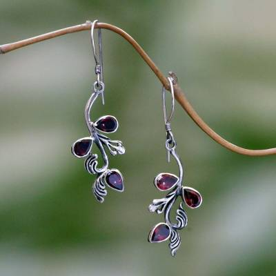 Garnet floral earrings, 'Bali Belle' - Hand Made Garnet and Sterling Silver Dangle Earrings