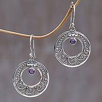 Amethyst dangle earrings, 'Royal Princess' - Amethyst dangle earrings