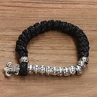 Men's sterling silver and leather bracelet, 'Majesty' - Men's Sterling Silver and Braided Leather Bracelet