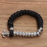 Men's sterling silver and leather bracelet, 'Majesty'