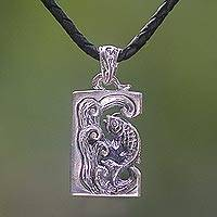 Sterling silver and leather pendant necklace, 'Lucky Dragon Fish'