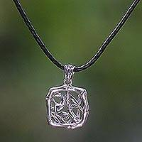 Sterling silver and leather pendant necklace, 'Bamboo Forest' - Sterling silver and leather pendant necklace