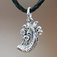 Men's sterling silver and leather necklace, 'Lucky Dragon Fish' - Men's Sterling Silver Pendant Necklace