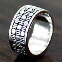 Men's sterling silver ring, 'Binary Code' - Men's Sterling Silver Band Ring from Indonesia