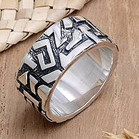 Mens sterling silver ring, Labyrinths