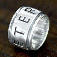 Sterling silver band ring, Eternal