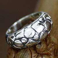 Men's sterling silver ring, 'Elements' - Men's Hand Crafted Sterling Silver Band Ring