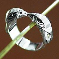 Men's sterling silver ring, 'Twin Hawks' - Men's sterling silver ring
