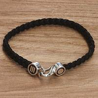 Men's sterling silver and leather bracelet, 'Together' - Handmade Men's Braided Leather Bracelet