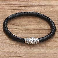 Mens sterling silver and leather braided bracelet, Union